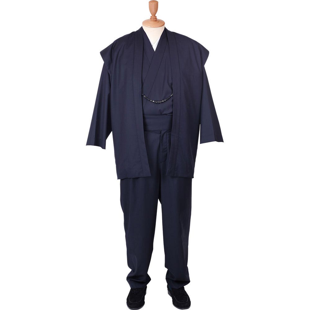 【最大2000円OFFクーポン配布中!スーパーSALE】【送料無料】着物スーツ ウールの門 凛然20 紺 羽織紐05(M-LL)
