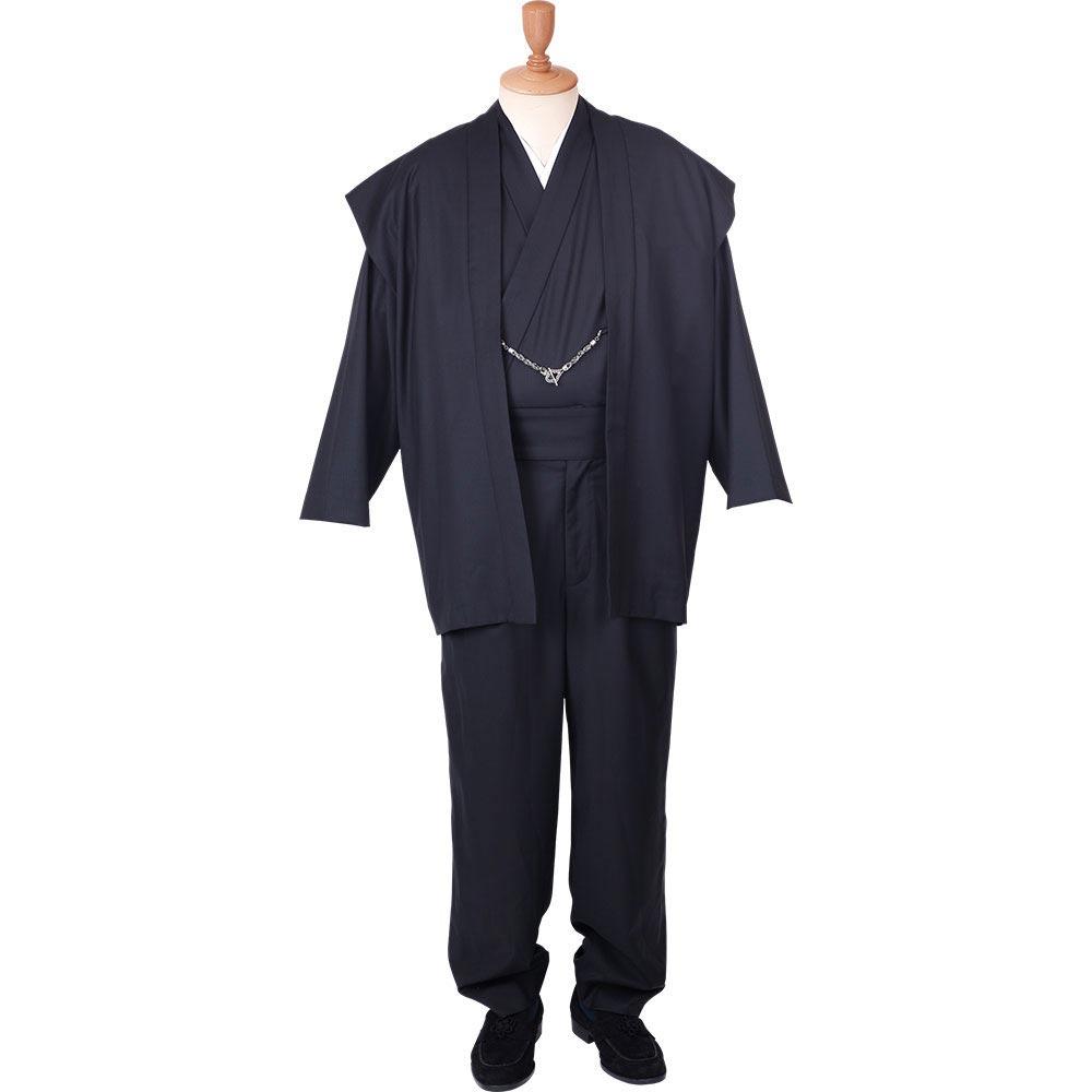 和装アンサンブル/着物スーツ ウールの門 凛然21 黒 羽織紐04(M-LL)/男性 紳士 メンズ