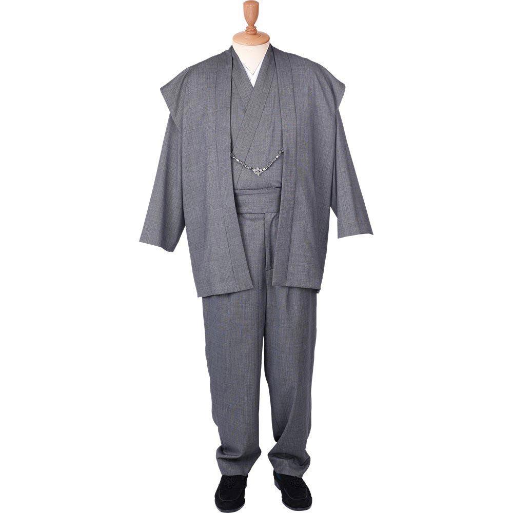 和装アンサンブル/着物スーツ ウールの門 凛然22 グレー 羽織紐04(M-LL)/男性 紳士 メンズ
