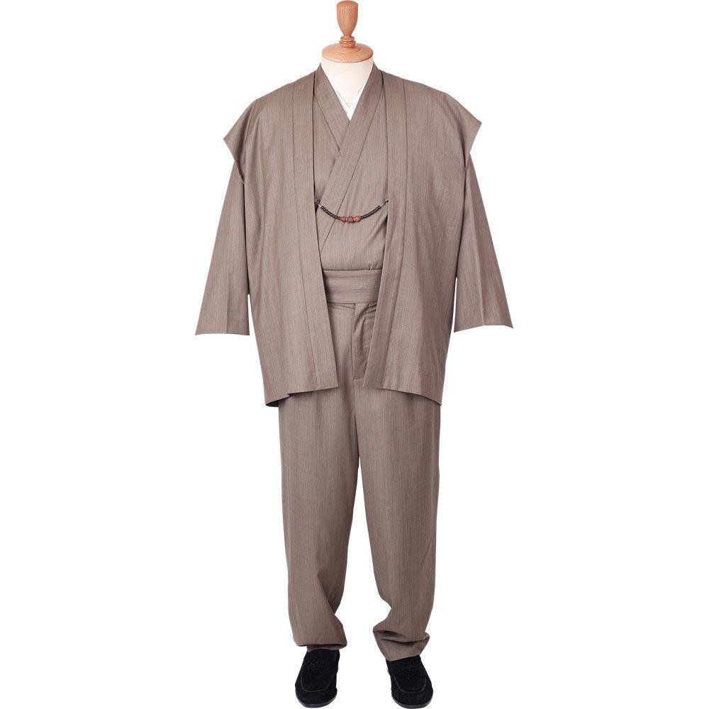 和装アンサンブル/着物スーツ ウールの門 凛然23 ベージュ 羽織紐07(M-LL)/男性 紳士 メンズ