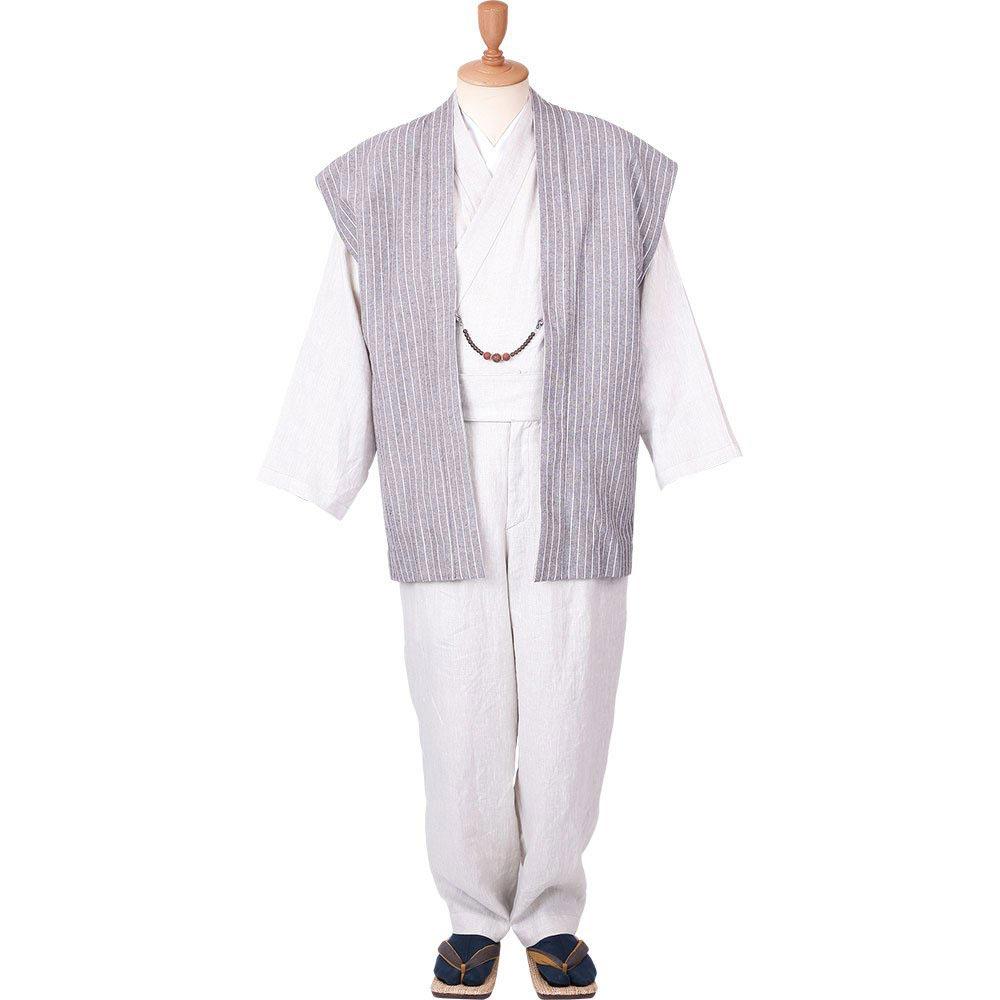 和装アンサンブル/着物スーツ 麻の門 涼風30 縦縞 羽織紐07(M-LL)/男性 紳士 メンズ