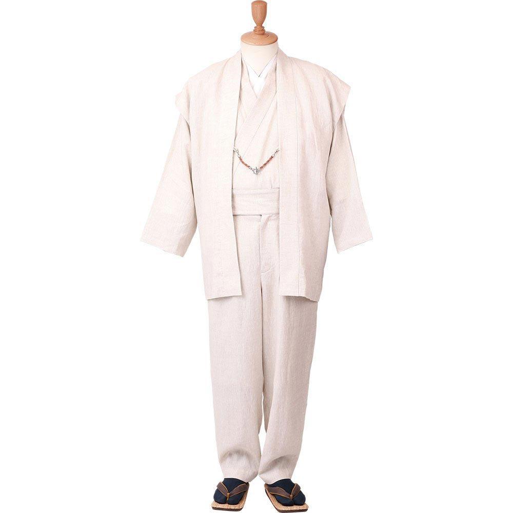 和装アンサンブル/着物スーツ 麻の門 涼風32 生成り 羽織紐03(M-LL)/男性 紳士 メンズ