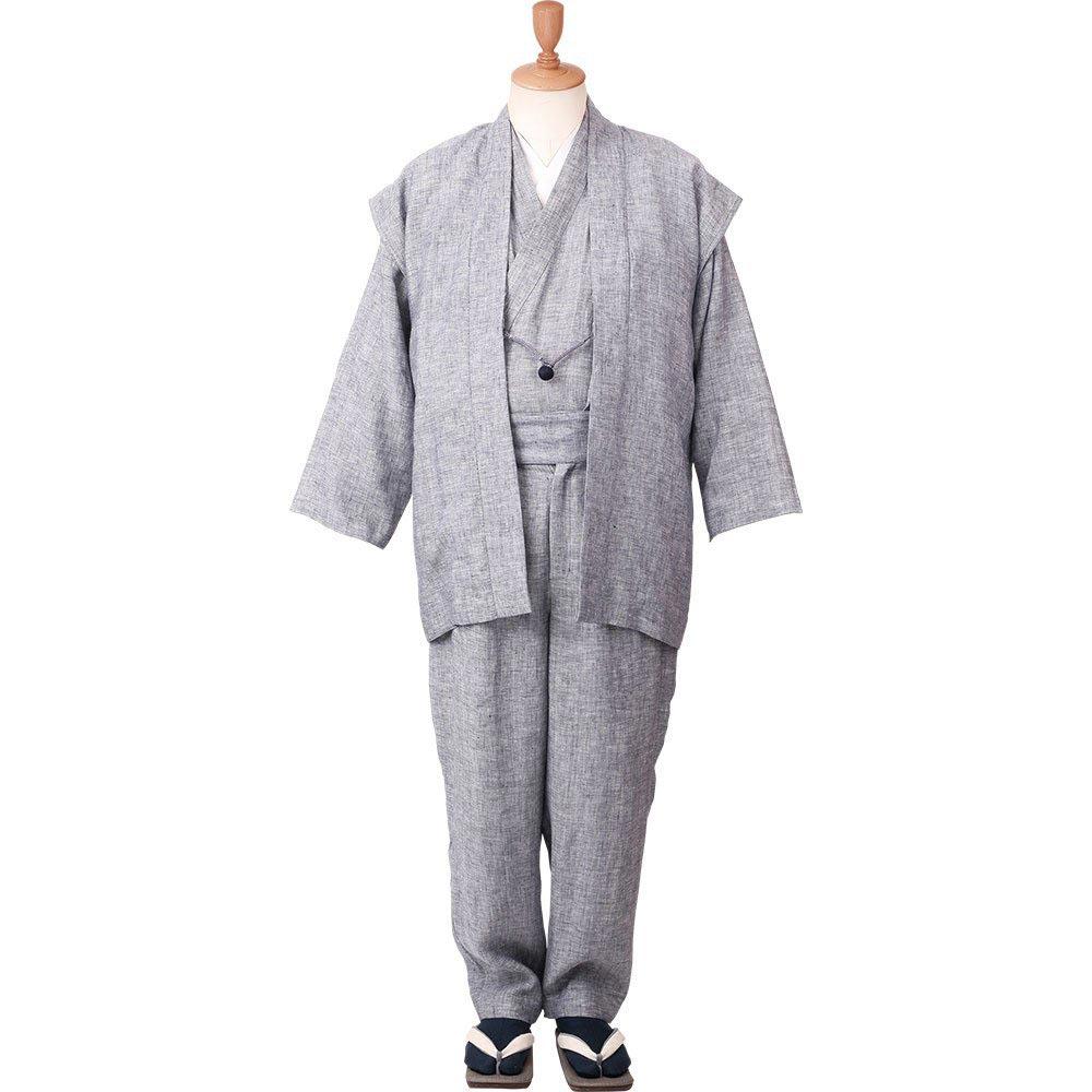 和装アンサンブル/着物スーツ 麻の門 涼風33 白灰 羽織紐05(M-LL)/男性 紳士 メンズ