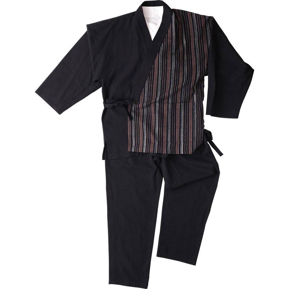 作務衣(さむえ)/綿の作務衣 寛05 黒縦縞(M-LL)/男性 紳士 メンズ