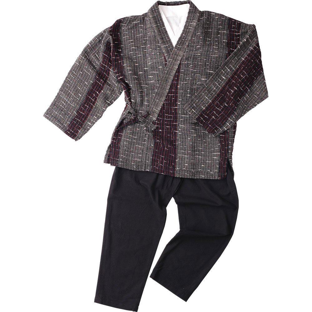 作務衣(さむえ)/綿の作務衣 寛08 グレー赤縞(M-LL)/男性 紳士 メンズ