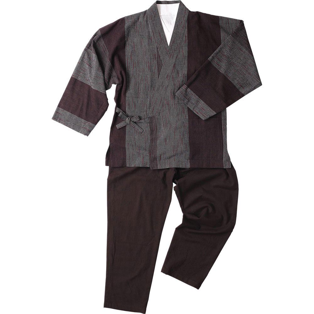 作務衣(さむえ)/綿の作務衣 寛09 茶グレー赤(M-LL)/男性 紳士 メンズ
