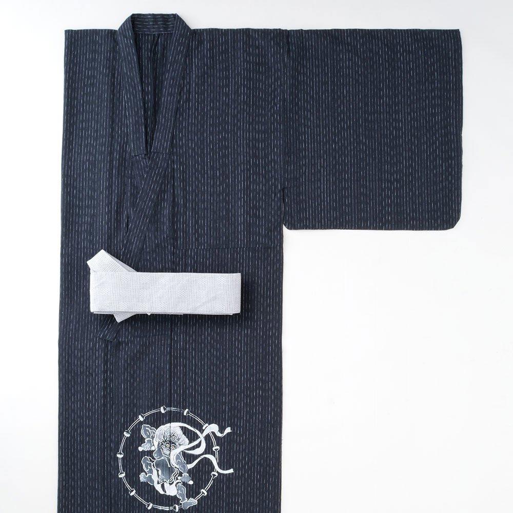 浴衣(ゆかた)/手書き浴衣 風神雷神 黒(M-L)/男性 紳士 メンズ