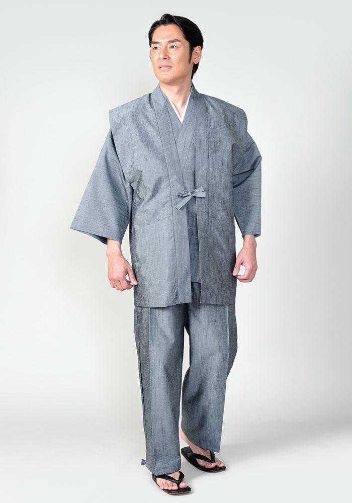 桐生正絹(柞蚕糸)羽織(グレー・紺)(M-LL)