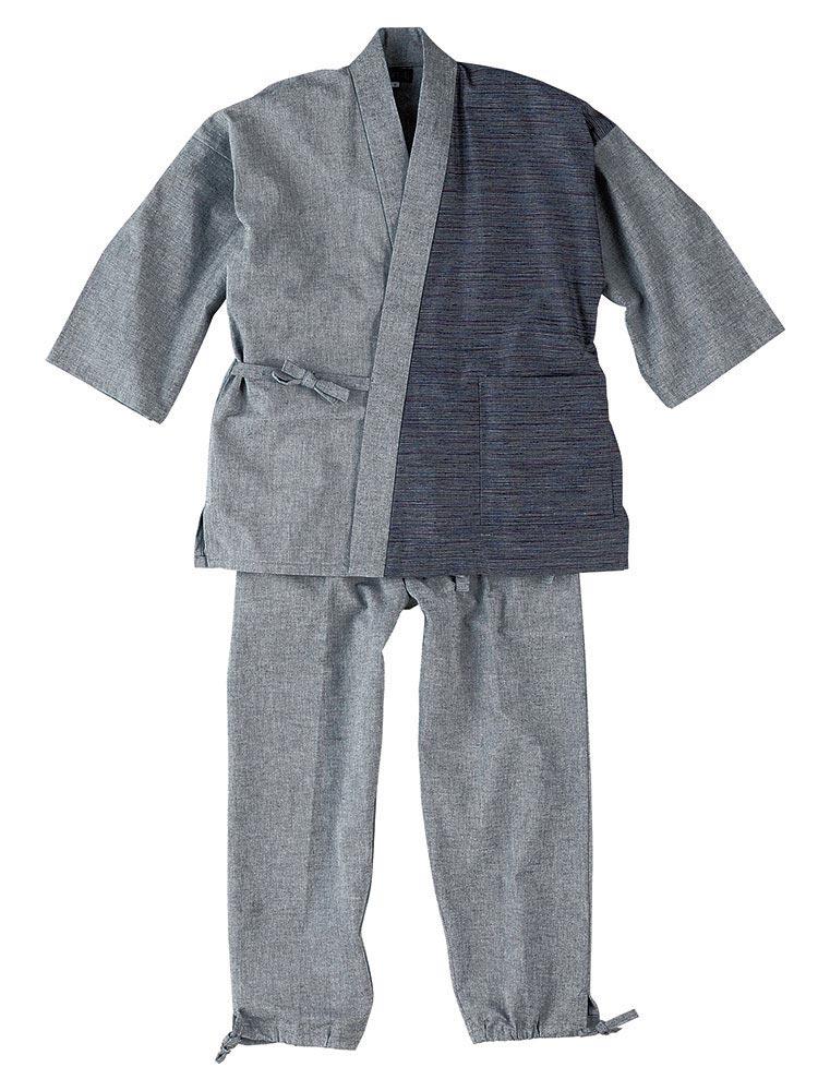 和よこ絣デザイン作務衣(紫・紺・茶・黒・グレー)(M-LL)