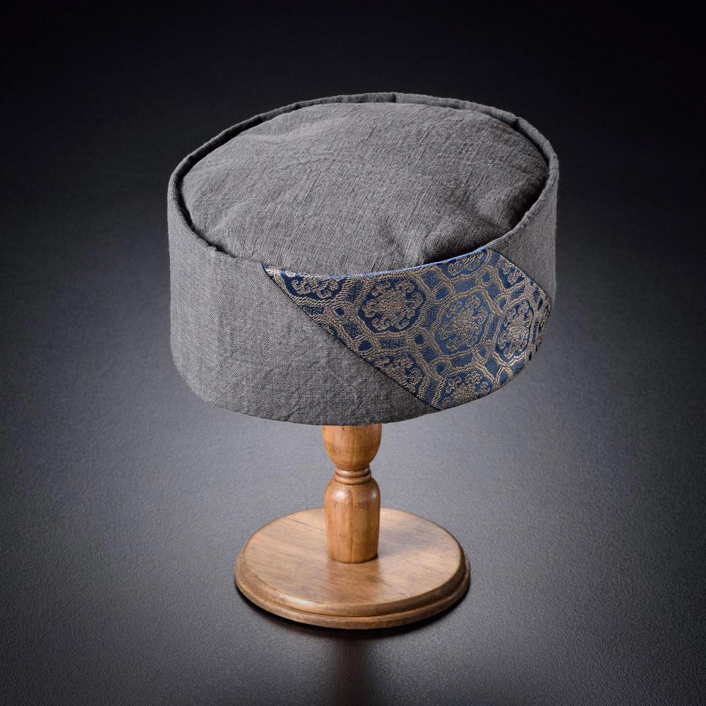 利休帽・和帽子/墨染×箔入紫明どんす 利休帽(L)/男性 紳士 メンズ