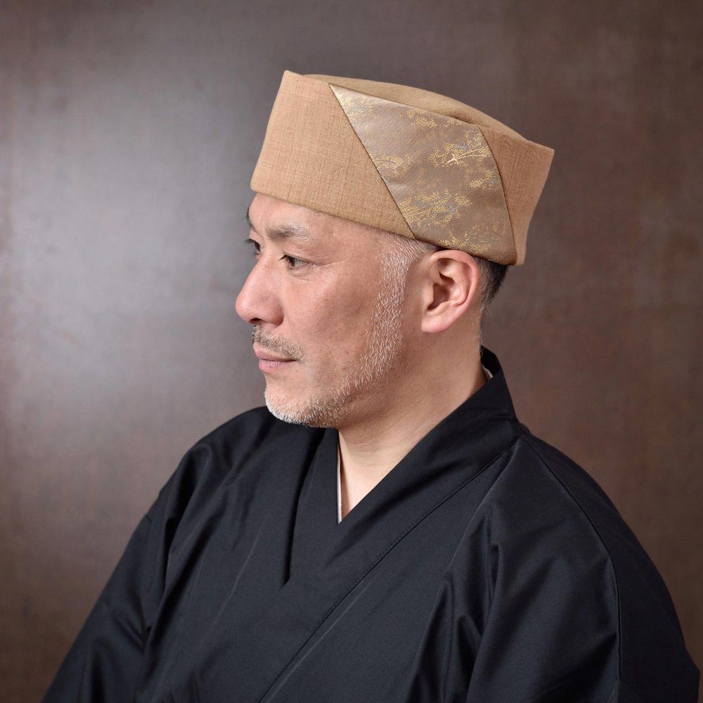 利休帽・和帽子/柿渋×三丁雅金襴金砂松葉 利休帽(S-M)/男性 紳士 メンズ