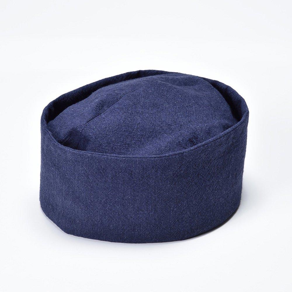 【クリスマスSALE開催中!】茶匠形 綿麻利休帽 紺(L)