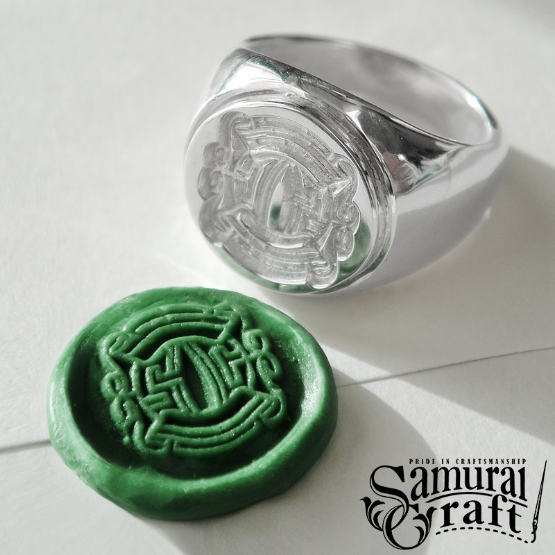 【Samurai Craft】 サムライクラフト シグネットリング シルバー ロゴ 刻印 印章 判子 印璽 アクセサリー SV925 New_SC 0601 カード分割