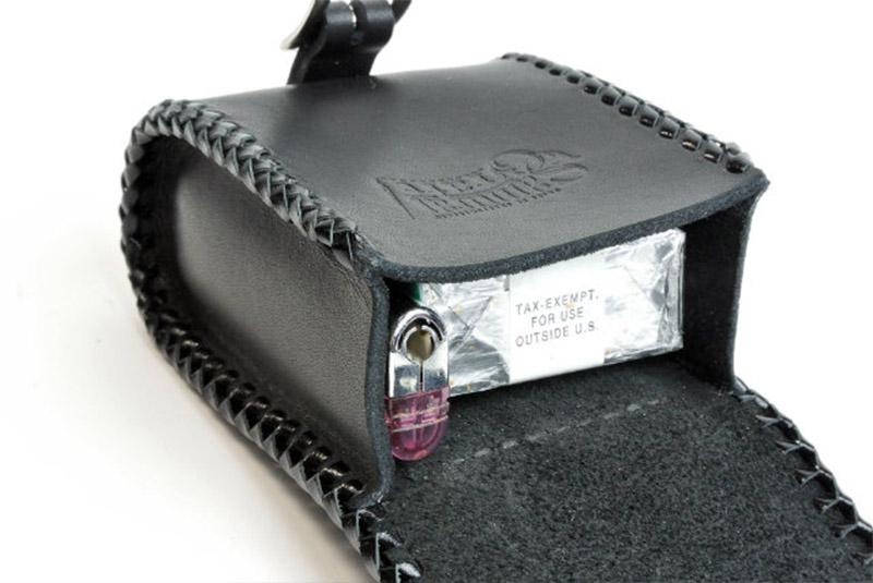 骑自行车的人烟盒图费勒黑皮革手镯手工制作