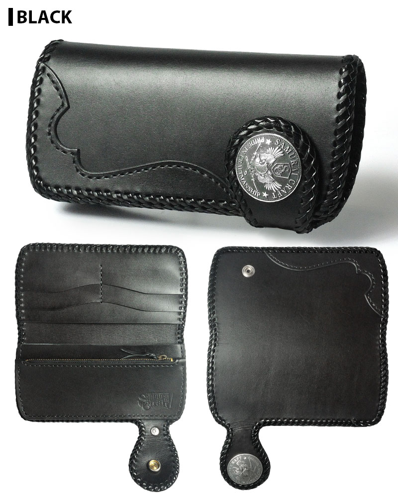 Iku Samura Raft leather long wallet A-2 slim type black saddle X black saddle overlay double stitch ★ concho ★ leather wallet handmade fs3gm available