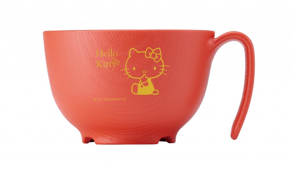 手が不自由な方でも持てるハンドル付き ウェルファン 持ちやすい茶碗 ハイクオリティ 木目 大注目 ハローキティ もちやすいシリーズ