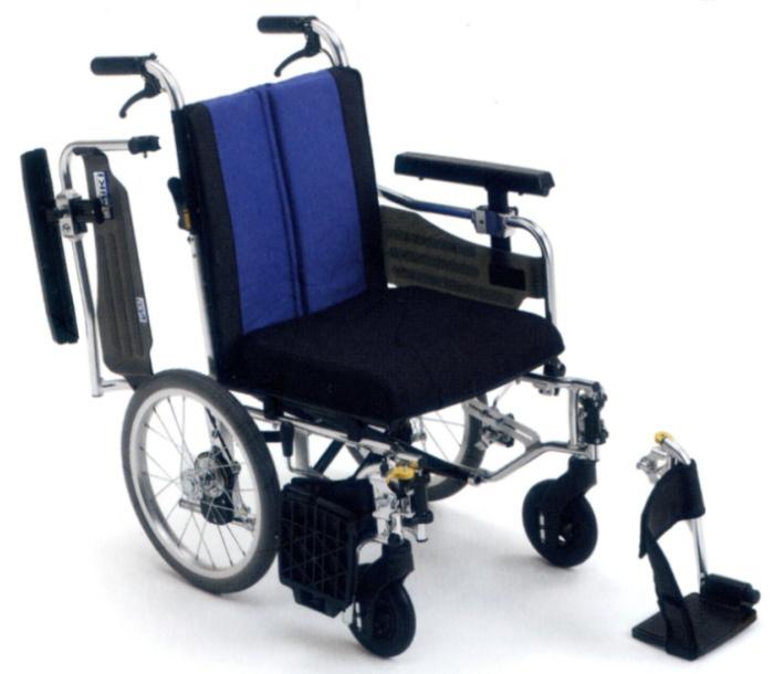 【法人宛送料無料】[ミキ] BAL-10 車椅子 介助式 低床 多機能タイプ 座面高調整 ノーパンクタイヤ仕様 肘掛跳ね上げ 脚部スイングアウト リーズナブル 折りたたみ クッション付 座幅40cm 耐荷重100kg MiKi
