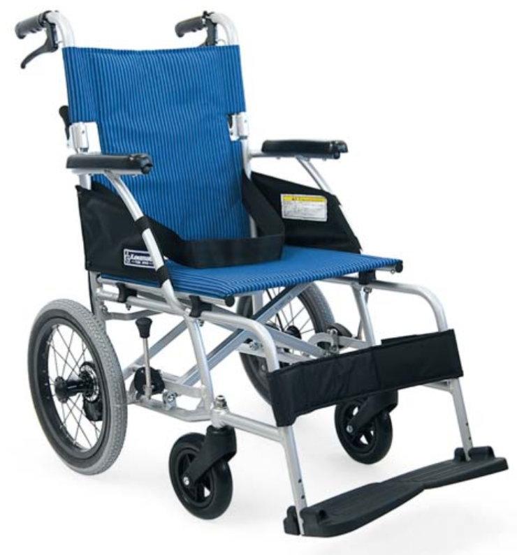 [カワムラサイクル] アルミフレーム介助用車いす(軽量ベーシックモジュール) BML14-40SB<後輪ソフトタイヤ>(低床タイプ・前座高40.5cm)