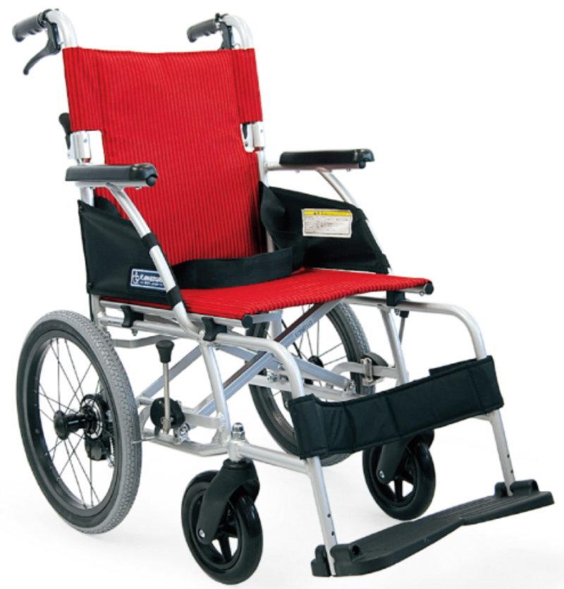 [カワムラサイクル] アルミフレーム介助用車いす(軽量ベーシックモジュール) BML16-40SB<後輪ソフトタイヤ>(中床タイプ・前座高43cm)