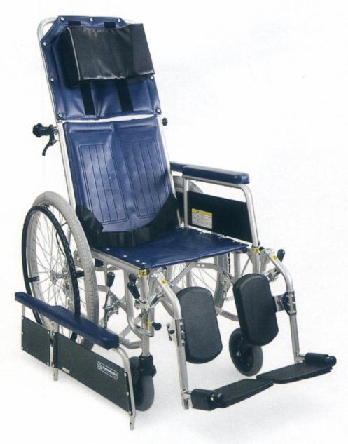 [カワムラサイクル] スチール製自走用リクライニング車椅子 バンド式介助ブレーキ付 RR42-NB