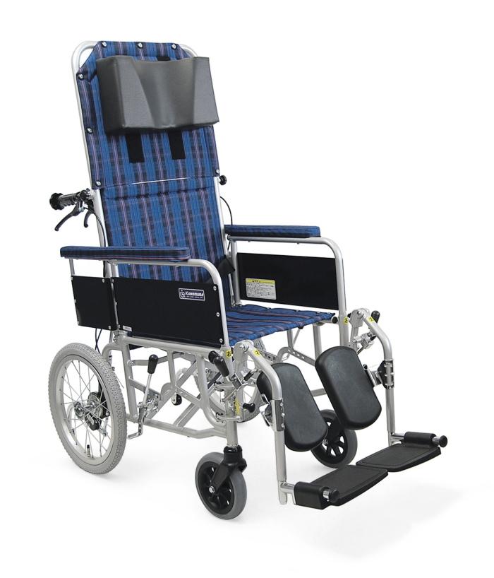 [カワムラサイクル] アルミ製介助用リクライニング車椅子 RR53-N (介助ブレーキなし)
