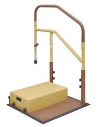 [マツ六] たよレールdan BZD-12 WD/WN 省スペースタイプ 片手すり 踏み台付 介護 玄関 段差昇降支え 置き型 置くだけ 簡単設置 工事不要 コンパクト 対応段差13~36cm 重量32kg 木目ダーク/木目ナチュラル MAZROC