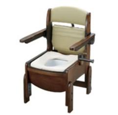 [リッチェル]木製トイレ きらくコンパクト 肘掛跳ね上げ式 普通便座 18550