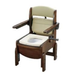 [リッチェル]木製トイレ きらくコンパクト 肘掛跳ね上げ式 やわらか便座 18560