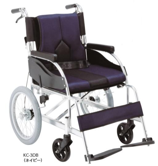 【法人宛送料無料】[マキテック] COLORS カラーズ KC-3 車椅子 介助式 標準タイプ エアータイヤ仕様 折りたたみ クッション付 ベルト付 リーズナブル 座幅42cm パープル/ネイビー/ライトグレー 耐荷重100kg MAKITECH