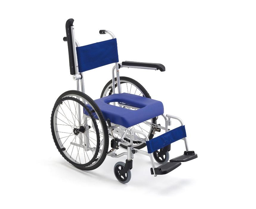 【法人宛送料無料】[ミキ] フローラ MH-1 車椅子 入浴用 お風呂用 シャワー用 シャワーキャリー 自走式 折りたたみ 肘掛跳ね上げ 脚部着脱 ノーパンクタイヤ 自宅 病院 施設 デイサービス MiKi