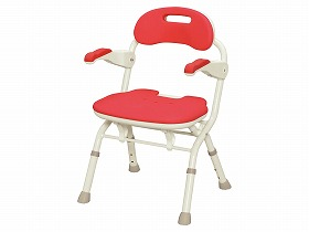 座った姿勢の保持ができない方に。折りたたみ幅15cm。 [アロン化成] 安寿 折りたたみシャワーベンチ FSフィット 536-056 536-057 536-058 楽おりシリーズ 背もたれ付き 肘掛付き 肘掛跳ね上げ やわらか座面 防カビ加工 介護 風呂椅子 バスチェアー シャワーチェア シャワーイス 耐荷重100kg