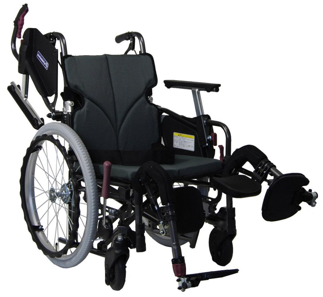 [カワムラサイクル] アルミ自走用車いす モダンシリーズ Cスタイル 座幅45cm 脚部エレベーティング式 中床/高床タイプ (前座高43・45・47cm) KMD-C22-45-EL-M(H・SH)