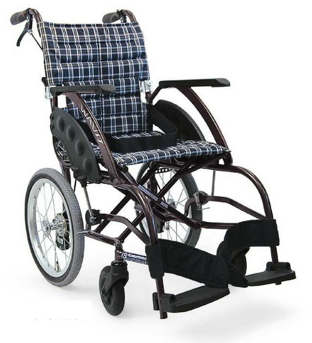 [カワムラサイクル] 介助用標準車いす WAVIT (ウェイビット) WA16-40A WA16-42A (エアタイヤ(軽量)仕様・介助ブレーキ付)
