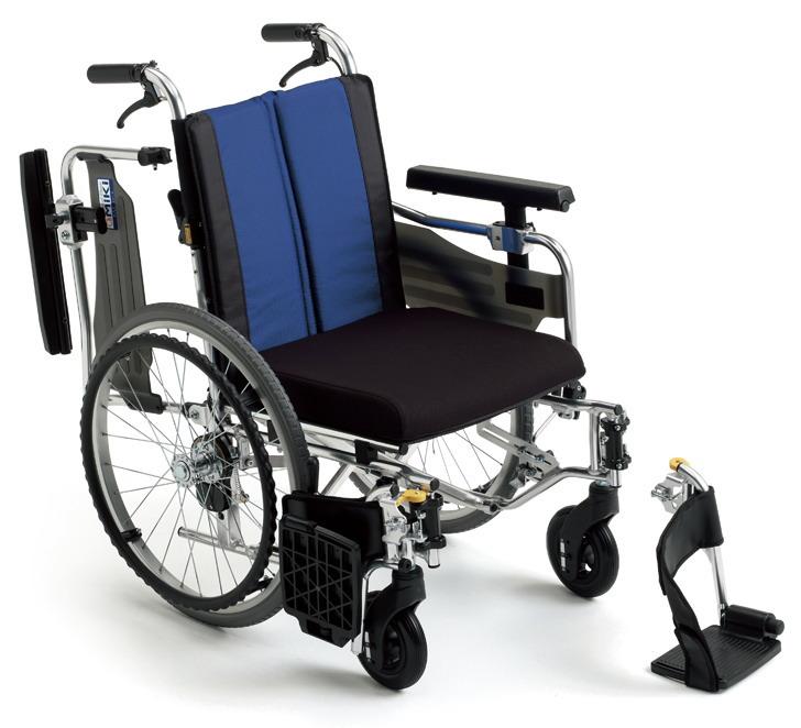 [ミキ] アルミフレーム自走用車いす BAL-9 (低床タイプ:座面高モジュール+ウイング・スイングアウト ノーパンクタイヤ・介助ブレーキ付)