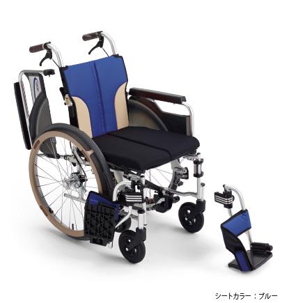 【法人宛送料無料】 [ミキ] SKT-400B スキット400B 車椅子 自走式 ノンバックブレーキシステム搭載 エアタイヤ仕様 多機能 肘跳ね上げ 脚部スイングアウト スリム コンパクト 折り畳み可能 耐荷重100kg ブルー/レッド/ブラウン MiKi クッション付