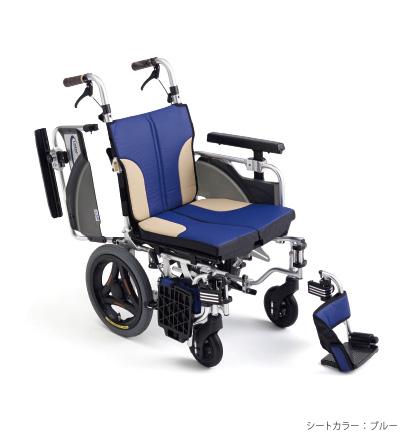 【法人宛送料無料】[ミキ] スキット2000Lo SKT-2000Lo 車椅子 介助式 モジュールタイプ 低床・低座面 エアタイヤ仕様 スリム コンパクト 多機能 肘掛跳ね上げ 脚部スイングアウト 折りたたみ ブルー/レッド/ブラウン 耐荷重100kg MiKi
