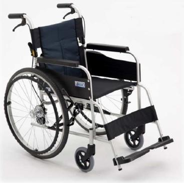[ミキ] アルミ製スタンダード車いす 自走型USG-1 (ノーパンクタイヤ・介助ブレーキ付)