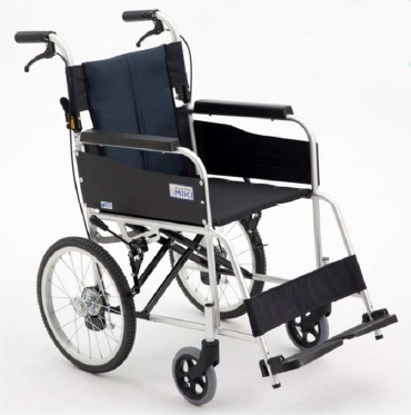 [ミキ] アルミ製スタンダード車いす 介助型USG-2 (ノーパンクタイヤ・介助ブレーキ付)