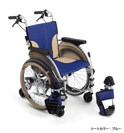【法人宛送料無料】[ミキ] スキット500 SKT-500 車椅子 6輪車 自走式 スリム コンパクト ノーパンクタイヤ仕様 折りたたみ 耐荷重100kg ブルー/レッド/ブラウン MiKi
