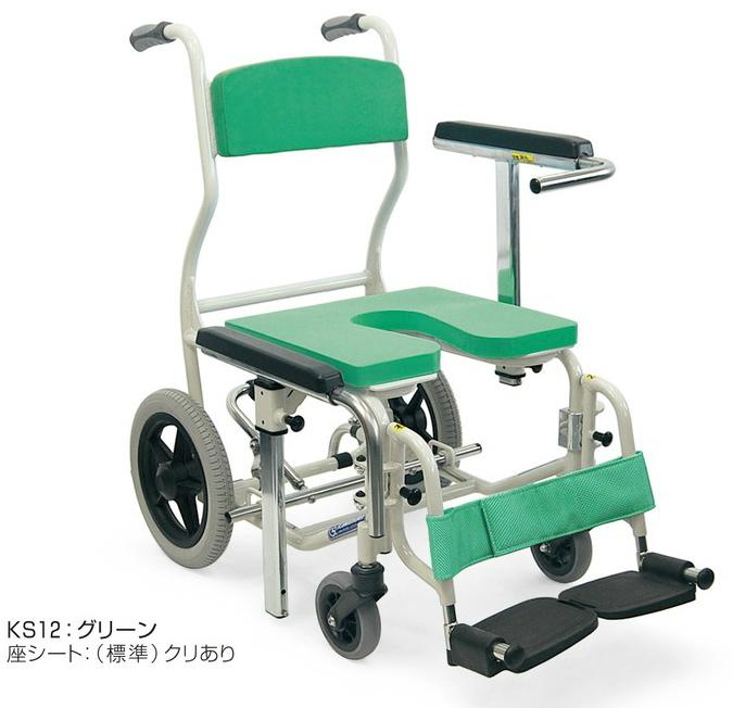 [カワムラサイクル] 入浴・シャワー用車いす KS12 (座・背もたれシート脱着式)