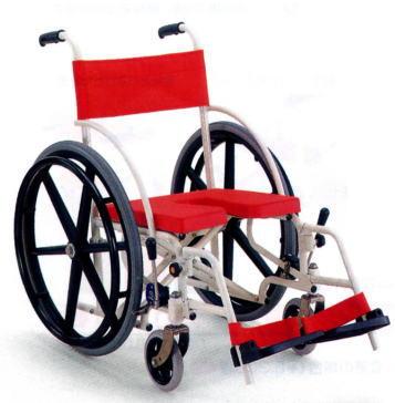 【法人宛送料無料】[カワムラサイクル] KS7 車椅子 入浴用 お風呂用 シャワー用 シャワーキャリー 自走式 折りたたみ 自宅 病院 施設 デイサービス イエロー/レッド KAWAMURA (受注後生産品)