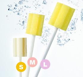 [川本産業] マウスピュア 口腔ケアスポンジ プラスチック軸 500本入り (S・M・Lサイズ)