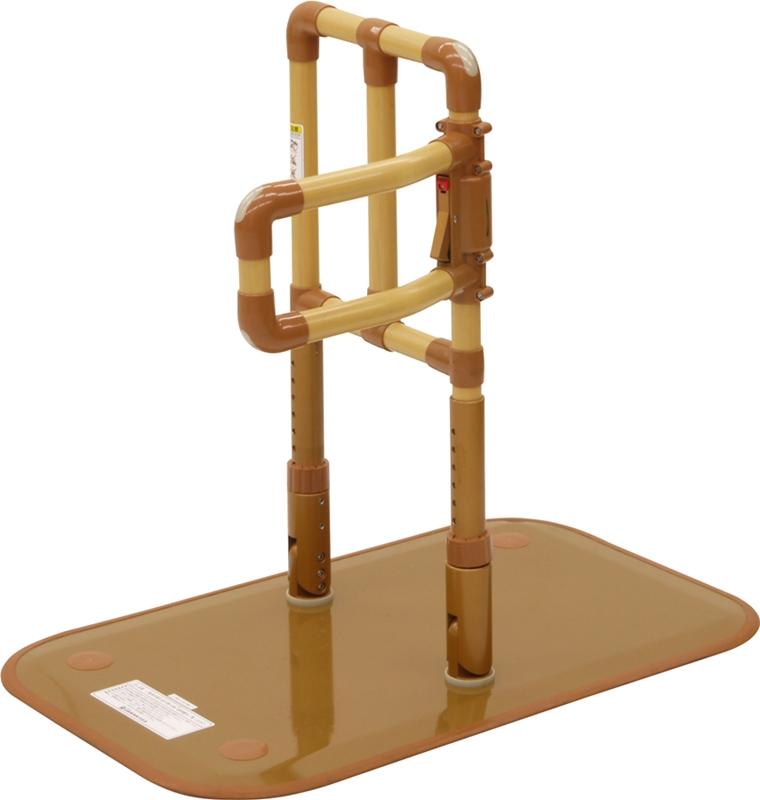 [山崎産業] 楽起 らっきぃ 介助バー型 YM-101L-ID 置き型手すり 置くだけ 簡単設置 介護 ベッドサイド 寝室 ソファ 立ち上がり 起き上がり 重量22kg 手すり高さ71~85cm