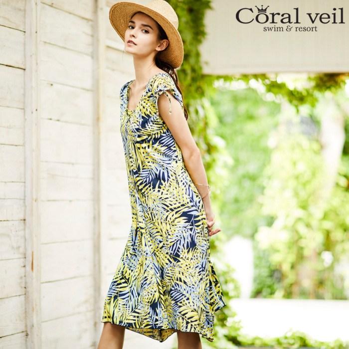 【SALE】 Coral veilShine Leaf ショルダードレス 3点セット水着 13号/15号 水着 みずぎ ミズギ 3点セット水着 レディース水着