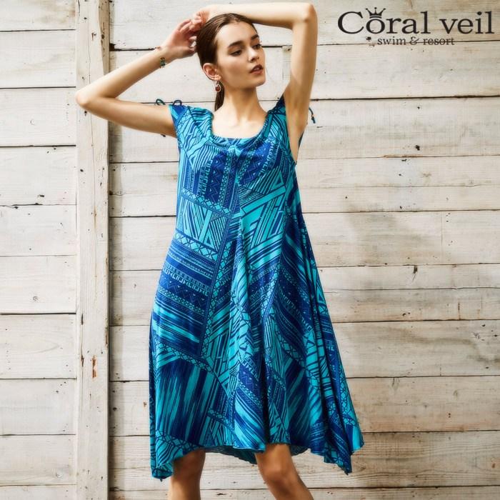 【Coral veil】Mono graf ショルダードレス 3点セット水着 13号/15号 水着 みずぎ ミズギ 3点セット水着 レディース水着