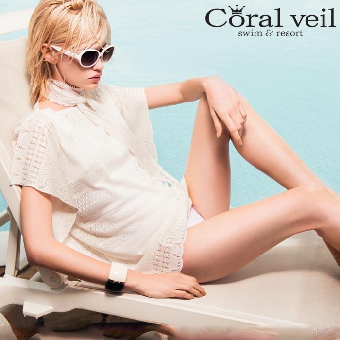 【Coral Veil】プリモ レース ポンチョ M 水着 みずぎ ミズギ ポンチョ レディース水着