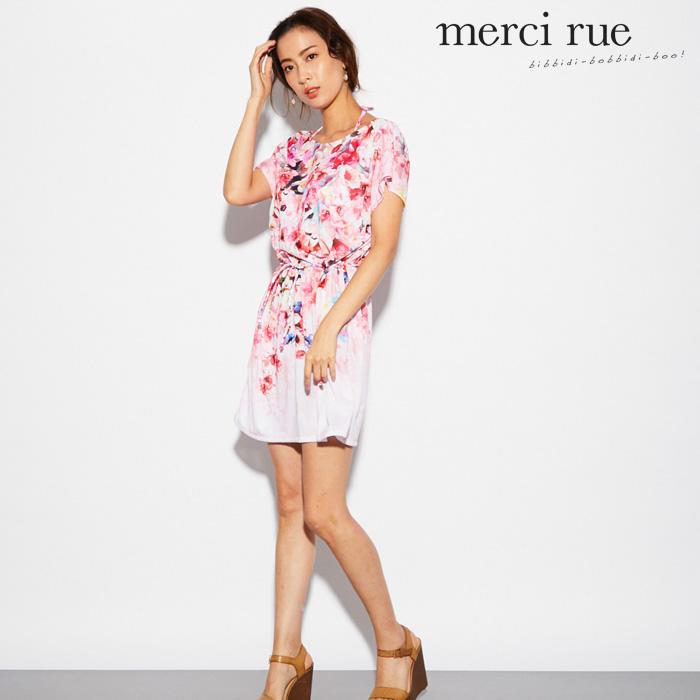 【merci rue】カラフルフラワー チュニック 3点セット水着 9号 水着 みずぎ ミズギ 3点セット水着 レディース水着