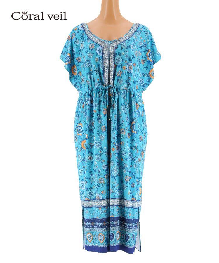 【Coral veil】Sarasa Scarf パネルドレス ワンピ 3点セット 13号 水着 みずぎ ミズギ 3点セット レディース水着