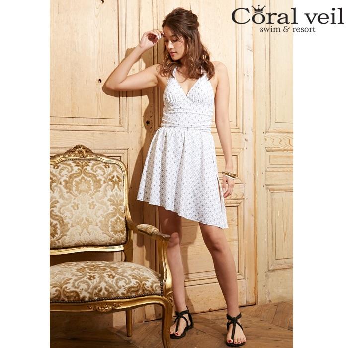 【Coral veil】サークル スカート付ワンピース 水着 9号/11号 水着 みずぎ ミズギ 水着 レディース水着