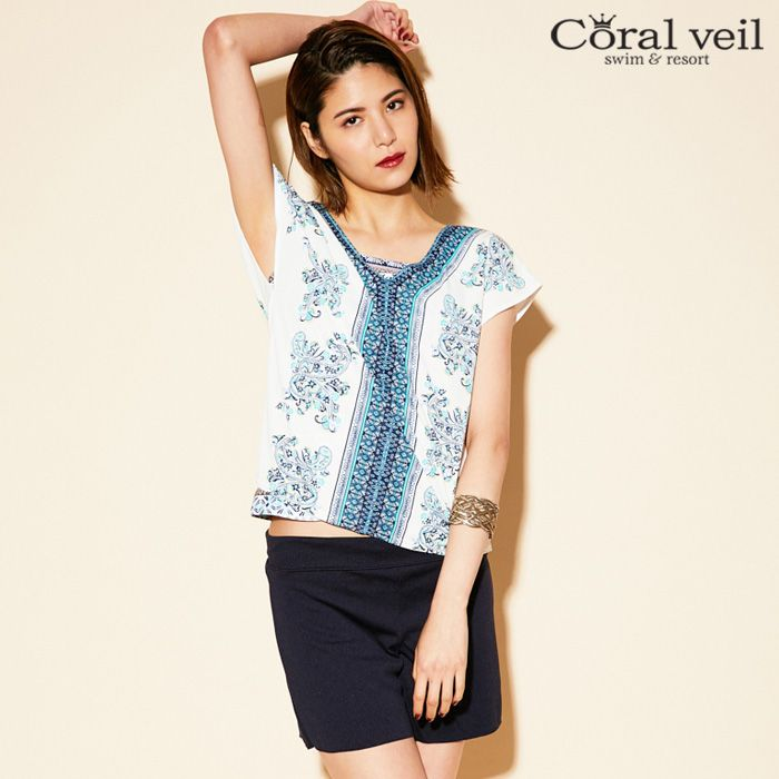【SALE】 Coral veil Multi Paisely マルチペイズリー スムースパンツ付 4点セット水着 9号 水着 みずぎ ミズギ 4点セット水着 レディース水着